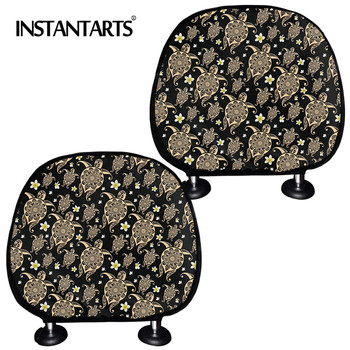INSTANTARTS Sea Turtles New Design Car Pillow Seat Cover Fashionable Soft Car Seat Head Rest Cover Set of 2 Car Neck Seat Cover image