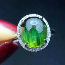 Fine Jewelry Real 18K Gold AU750 100% Natural Green Tourmaline Cat's Eye 6ct Gemstone male Rings Brazil Origin for men Gift(China)