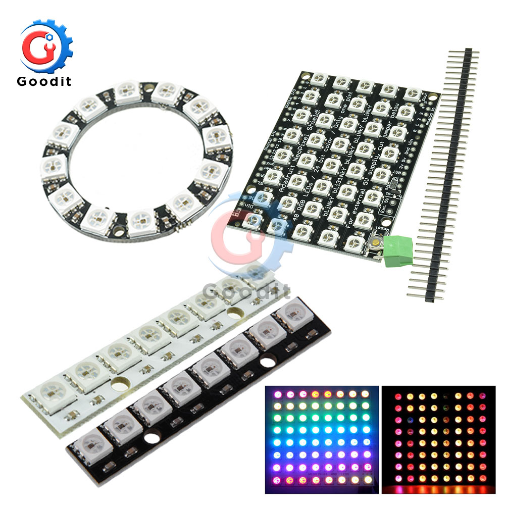 4 7 8 12 16 24 40 60 64 Bit WS2812 Module 5050 RGB LED Full-color Built-in Driving Lights Round LED Ring Board Electronic DIY