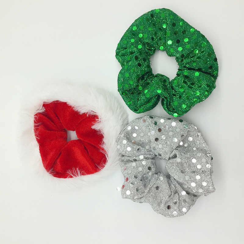 2019 weihnachten Scrunchies Frauen Elastische Haar Bands Pailletten Haar Ring Samt Pferdeschwanz Haar Seil Mode Mädchen Haar Zubehör