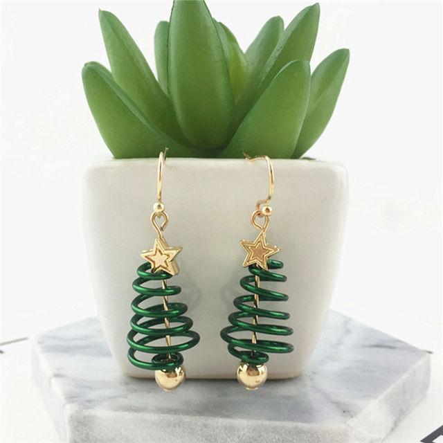 Pendientes de moda aleación de Zinc oro verde árbol de Navidad estrella pendiente joyería regalo para mujeres chicas amigas, 1 par