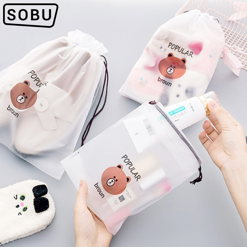 New Cartoon Bear Waterproof Transparent Organizers Traver Packing  Women  Bath  Storage Pouch Toiletry Wash Beaut Kit