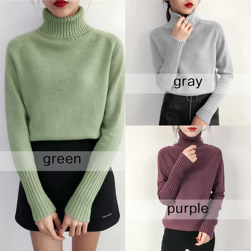 Women Korean Female Cashmere Knitted Sweater Turtleneck Jumper Ladies Pullover