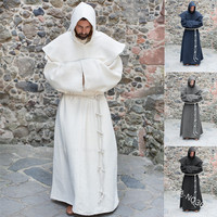 Halloween Medieval Friar Priest Retro Hooded Cloak Monk Sorcerer Wizard Loose Robe Gown Wizard Cowl Prayer Party Cosplay Costume