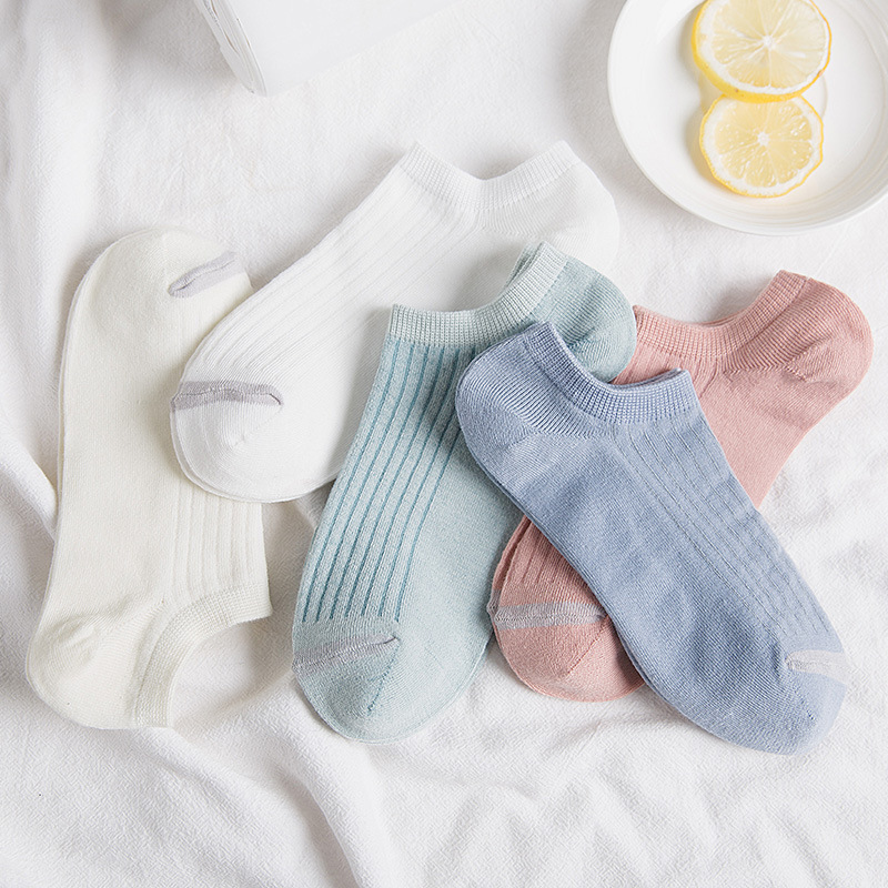 New Ladies Short Section Shallow Mouth Socks Casual Plain Stripe Women's Socks Breathable And Comfortable Stealth Boat Socks Cut