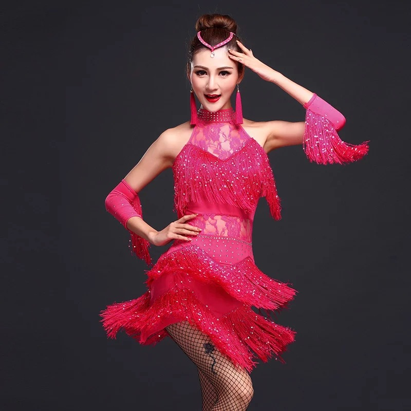 3pcs/set Big Size Latin Dance Dress Performance Adult Female Sequin Fringe Samba Dance Wear Salsa Competition Costume