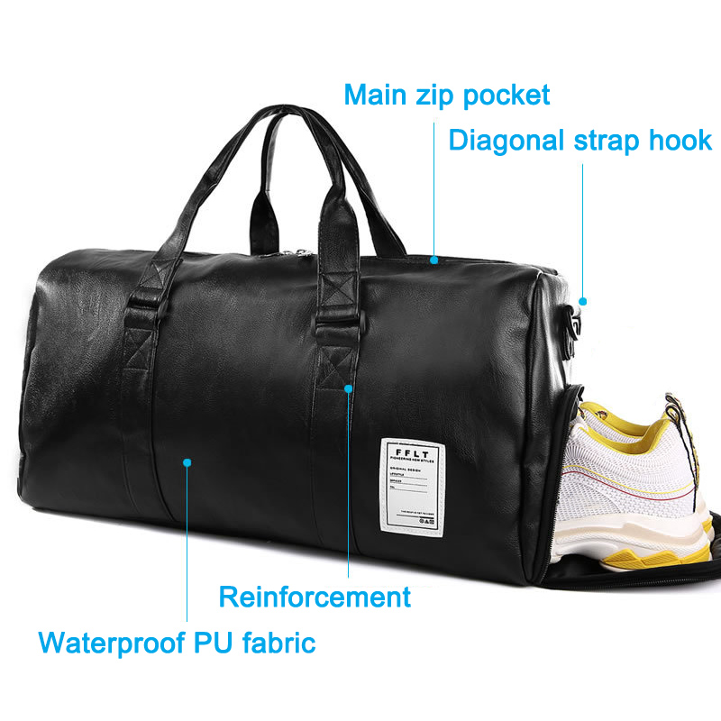 Women Men Fitness Bag Solid PU Waterproof Large Capacity Sport Totes For Travelling ZJ55