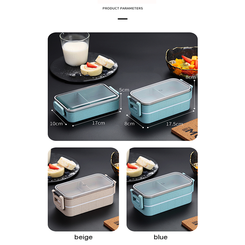 Heated Food Container For Food Bento Box Lunch Box Double-layer Compartments Lunchbox Microwave Container Box Japanese Thermal 4