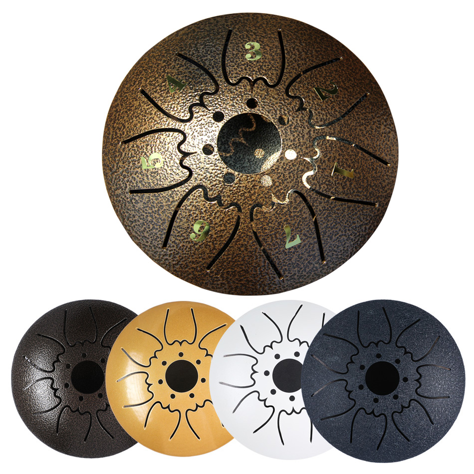 Tambour de langue de 5 pouces Mini tambour de langue en acier à 7 tons tambour de casserole de main de clé de C avec des maillets de tambour portent l'instrument de Percussion de sac