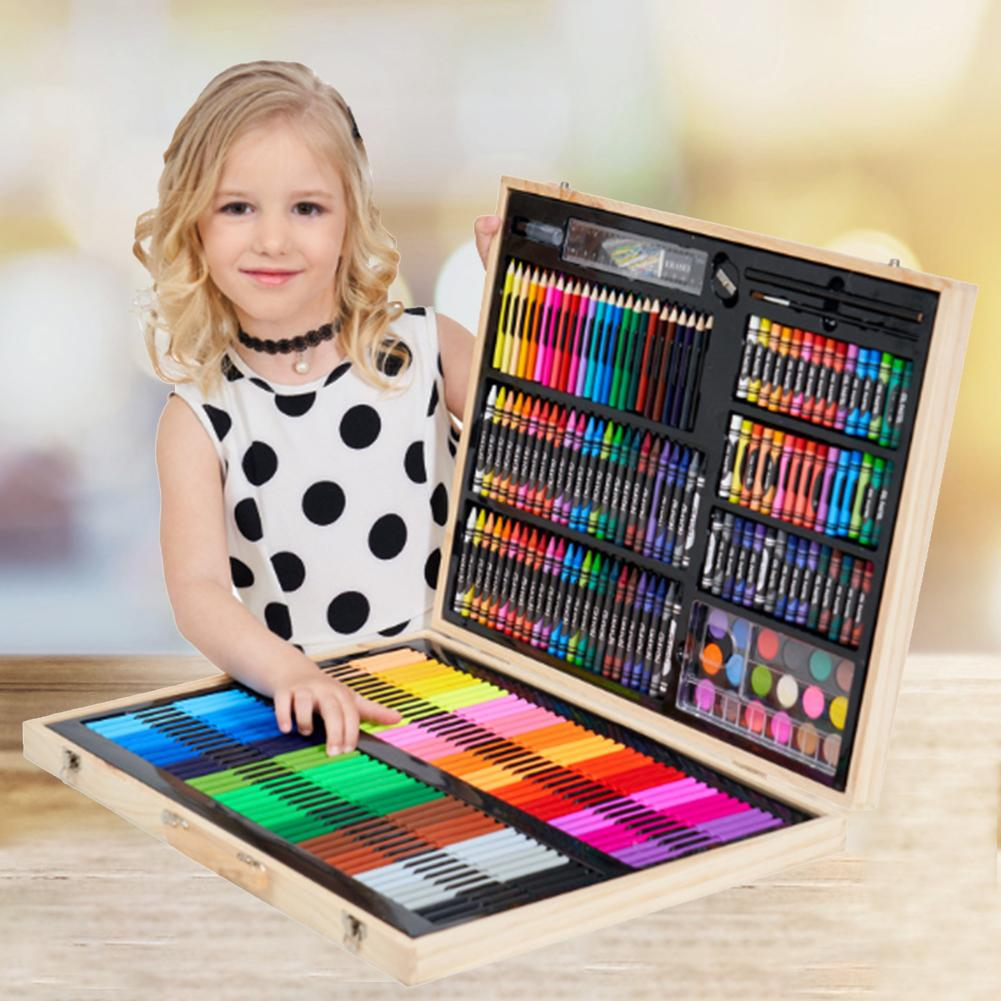 251PCS/Set Wooden Paints Box Luxurious Children's Colored Pen Set Student Drawing Art Accessories For Beginners And Artists