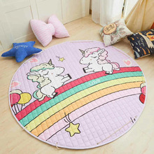Animal Printed Round Kids Rug Toys Childrens Carpet Baby Play Mat Cotton Developing Mat Rug Puzzle Play Mat Storage Bag Toys