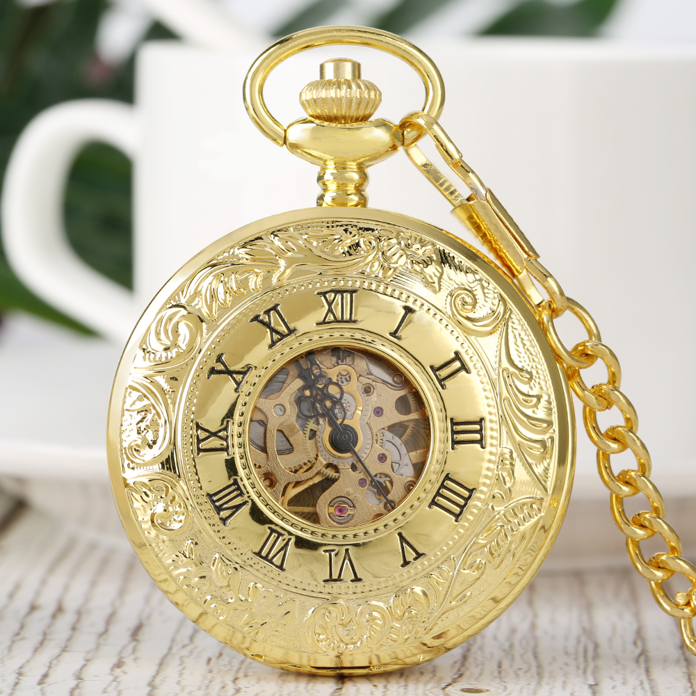 Mechanical Hand Wind Pocket Watch Men Hollow Out Full Gold Color Pendant Chain FOB Hand Wind Double Hunter Gifts