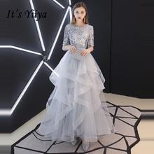 Это YiiYa вечернее платье реальные блестки Половина рукава Многоярусное с отворотом вечерние платья серые вечерние платья LX1398 robe de soiree