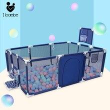 Piscina de bolinhas para crianças de 0-6 anos, barreira de segurança para crianças, dobrável, infantil, basquete, futebol