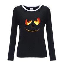 Womens Halloween Print Shirts O-Neck Long Sleeve Top Loose T-Shirt 8.23