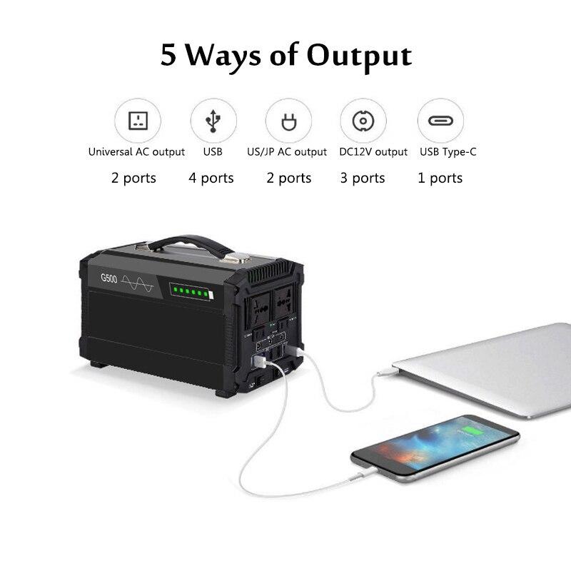 600/1000W 110/220V Solar powerbank falownik agregatu Outdoor UPS czysta fala sinusoidalna zasilanie przechowywanie energii 80000/120000mAh