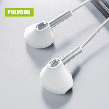 POLVCDG White In-ear Mic 3.5mm HiFi Sports D1 Earbuds With Wheat Line Control Sub Woofer Earphones
