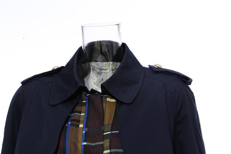 [EAM] Women Belt Pleated Hit Color Trench New Lapel Long Sleeve Loose Fit Windbreaker Fashion Tide Autumn Winter 19 1B096 33