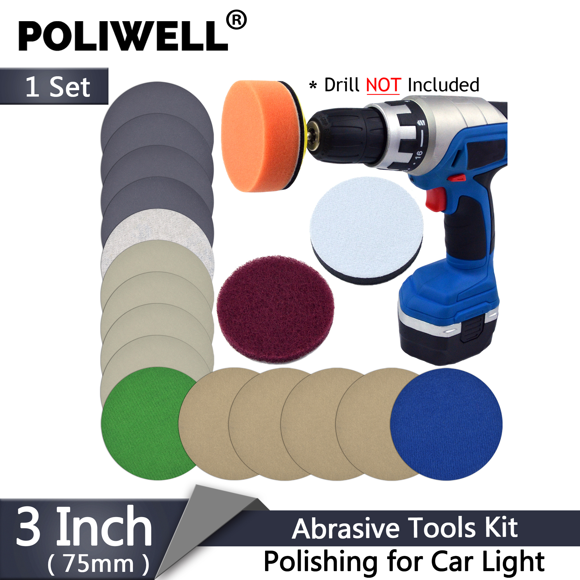POLIWELL 3 Inch Automotive Polishing Set Car Headlight Restoration Kit Light Repair Sandpaper Sponge Cleaning Pads Fits Dremel