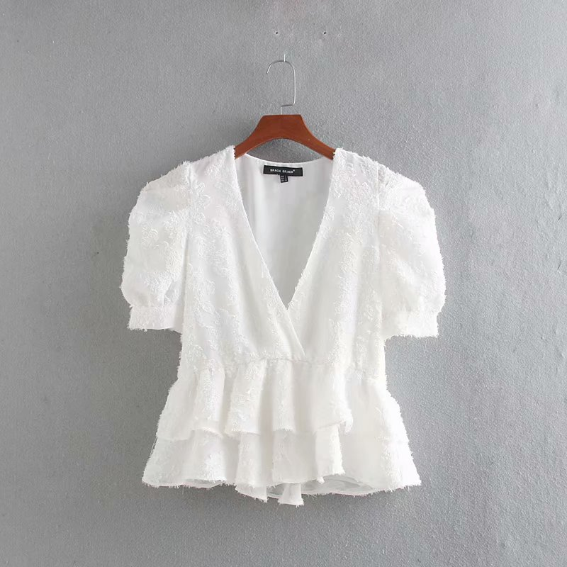 New Women Sweet V Neck Puff Sleeve Casual Chiffon Blouse Ladies Double Layer Cascading Ruffles Chic Shirts Femininas Tops LS4330