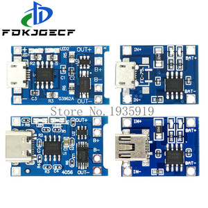 Mini Micro Type-c USB 5V 1A 18650 TP4056 Lithium Battery Charger Module Charging Board With Protection Dual Functions 1A Li-ion