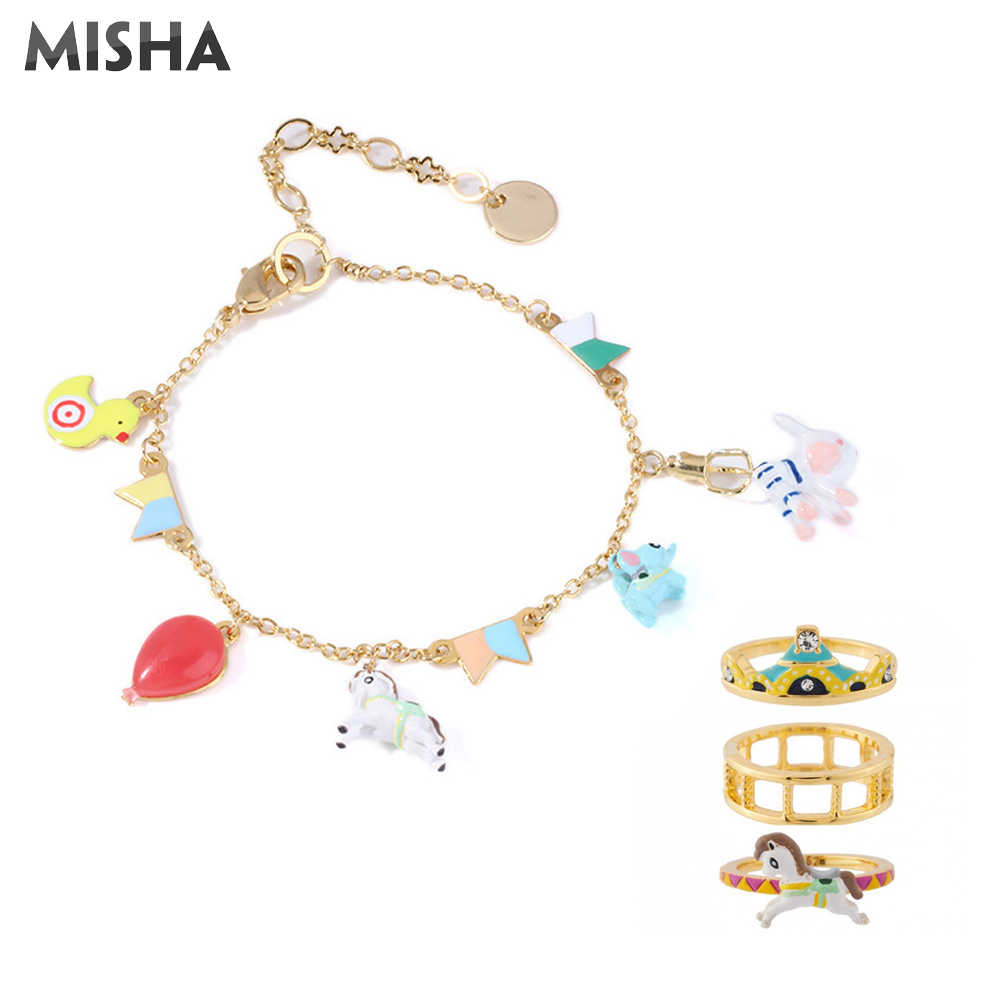 MISHA Fashion Jewelry Sets For Women Quality Handmade Enamel Glaze Jewelry Circus Design #7 Rings Bracelet For Ladies Gifts