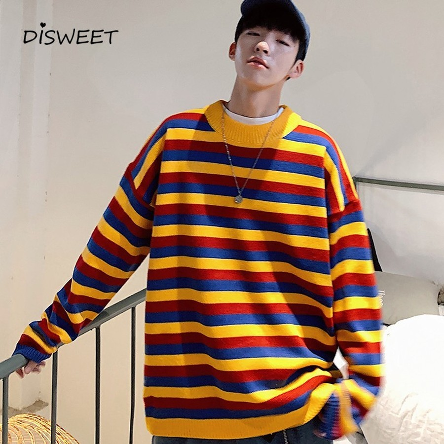 Winter Korean Multicolor Striped Sweater Men Fashion Pullover Long Sleeve Sweater Man Warm Cashmere Casual Men'S Knit Sweater