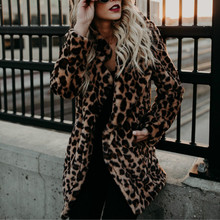 Winter outwear femme plus size coats Women loose Faux fur Coats single breasted coat leopard jacket