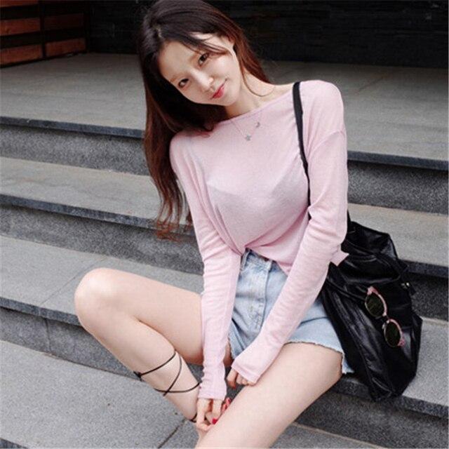 New Spring Top Sexy T Shirt Women Elasticity T-Shirt Korean Style Tee Woman Clothes Slim Tshirt Female Skinny Long Sleeve Tops 3