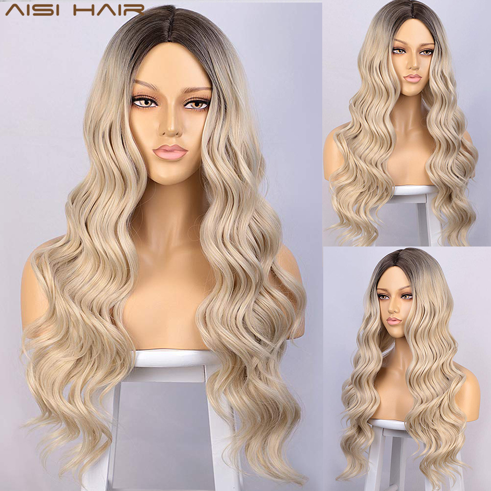 AISI HAIR Long Blonde Wig Wavy Synthetic Wigs for Women Natural Looking Hair Wig Middle Part Heat Resistant Daily Wig Party Use