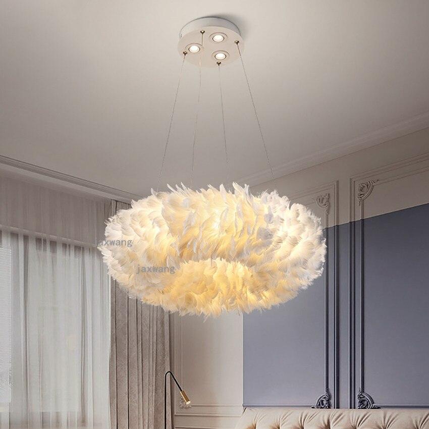 Us 100 0 20 Off Modern Led Feather Bedroom Pendant Lamp Lights Nordic Restaurant Hanging Lamps Ceiling Chandelier Lighting On