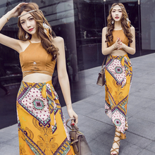 2019 Spring and summer new style Two-piece dress Bohemian beach Holiday print