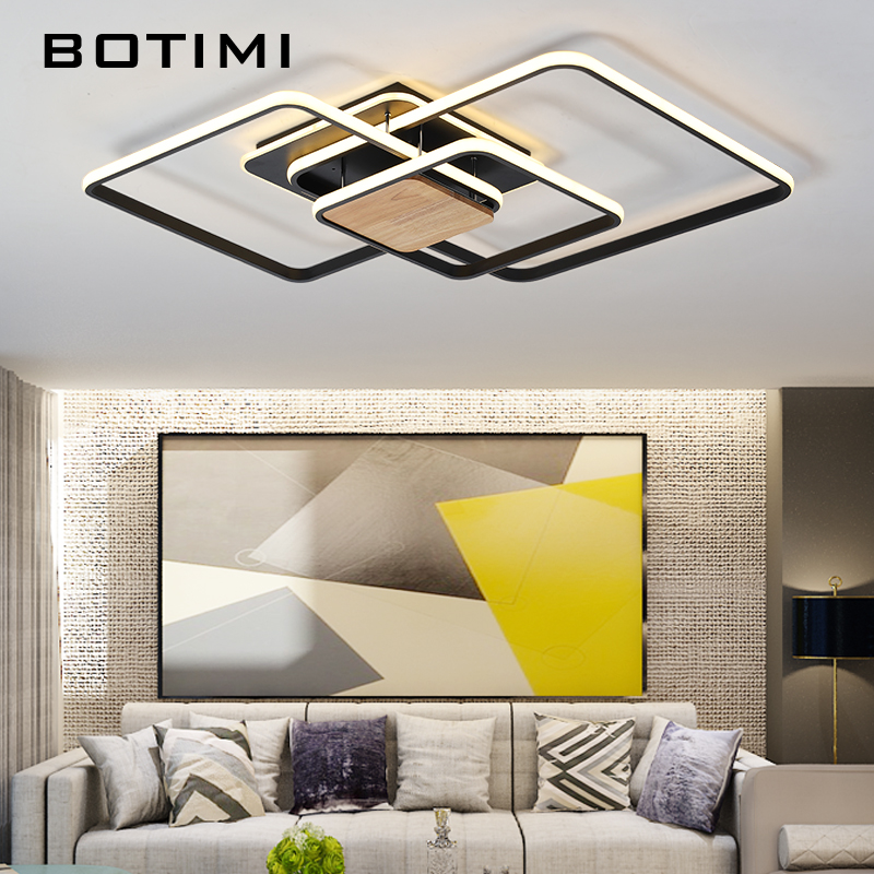 BOTIMI Modern Square Led Ceiling Lights With Remote Control Surface Mounted Acrylic Lamps For Living Room Bedroom Home Lighting