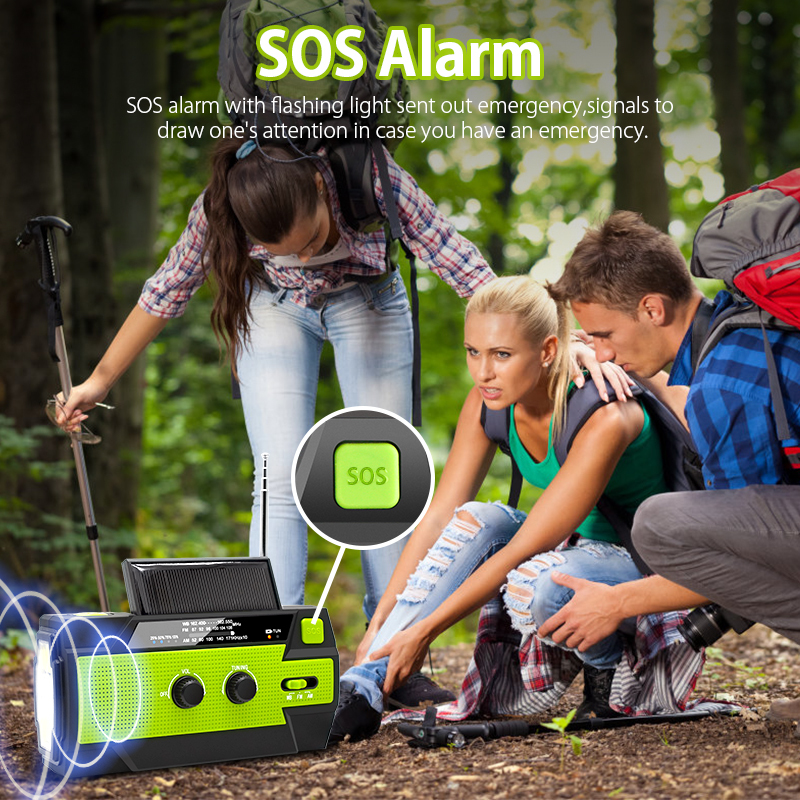 Outdoor Emergency Solar Hand Crank Weather Radio 4000mAh Power Bank Charger Flash Light Emergency Dynamo For Outdoor Activities 4