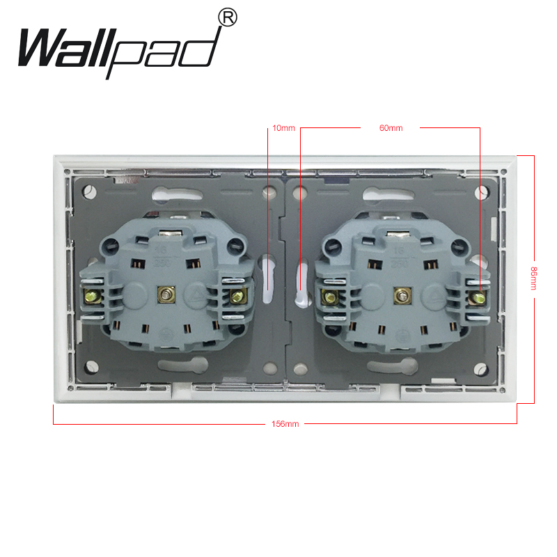 Image 4 - Double Dust Cap EU Schuko Socket Wallpad White Crystal Glass Panel 110V 250V Double Schuko Wall Power Socket EU with Claws Clips-in Electrical Sockets from Home Improvement