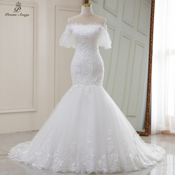 Real photo video Flare sleeves style mermaid wedding dresses2020 marriage dress robe de mariee vestidos novia sereia - discount item  54% OFF Wedding Dresses