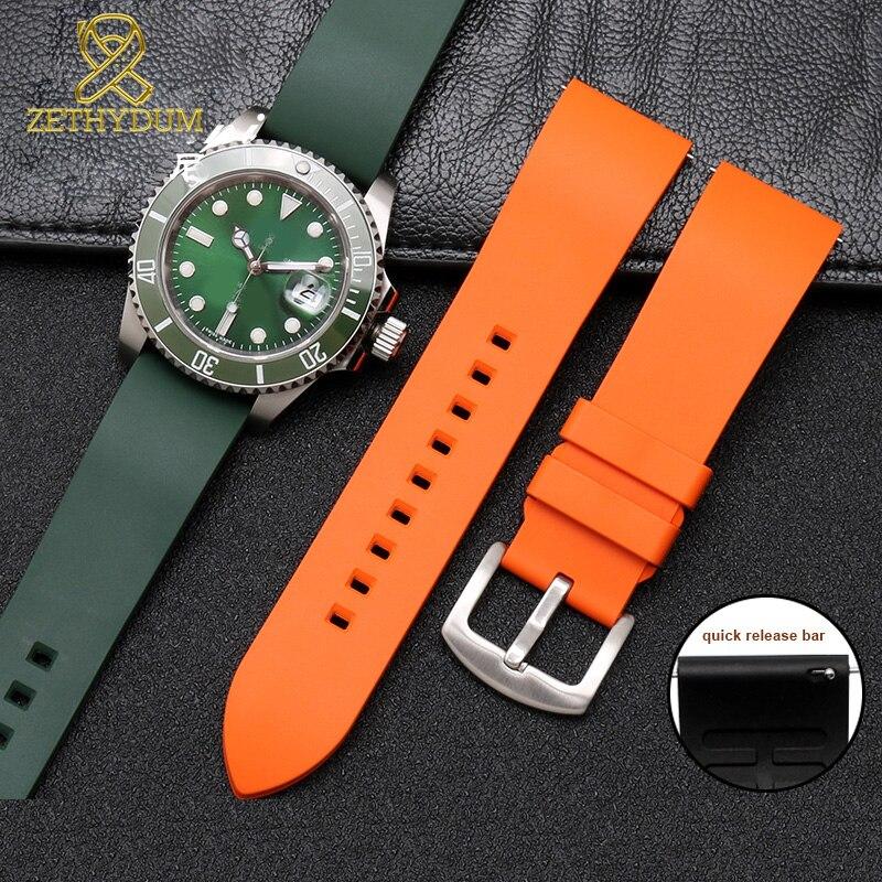 Fluororubber pulseira de relógio 20 22 24mm silicone borracha pulseira liberação rápida barra pulseira para cada marca relógios banda cor verde