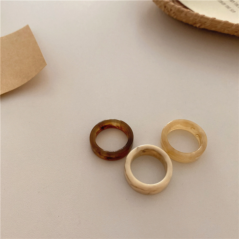 Bilandi Fashion Jewelry Resin Rings Hot Selling One Row Vintage Colorful Round Square Elegant Women Finger Rings For Girl Gifts