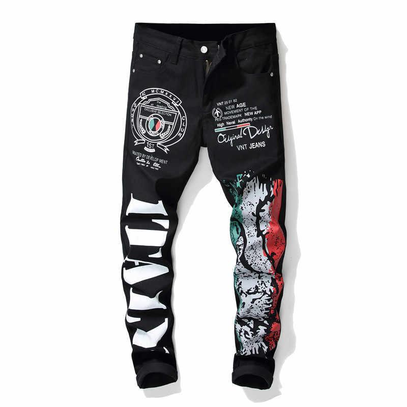 2019new Männer der buchstaben farbige zeichnung muster gedruckt jeans Mode schwarz stretch baumwolle slim fit hosen männer hohe qualität jean