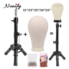 "Nunify Wig Stand With Head 21""/22""/23""/24""/25"" Canvas Mannequin Head Off White Displaying Making Styling Maniquin Wig Head(China)"