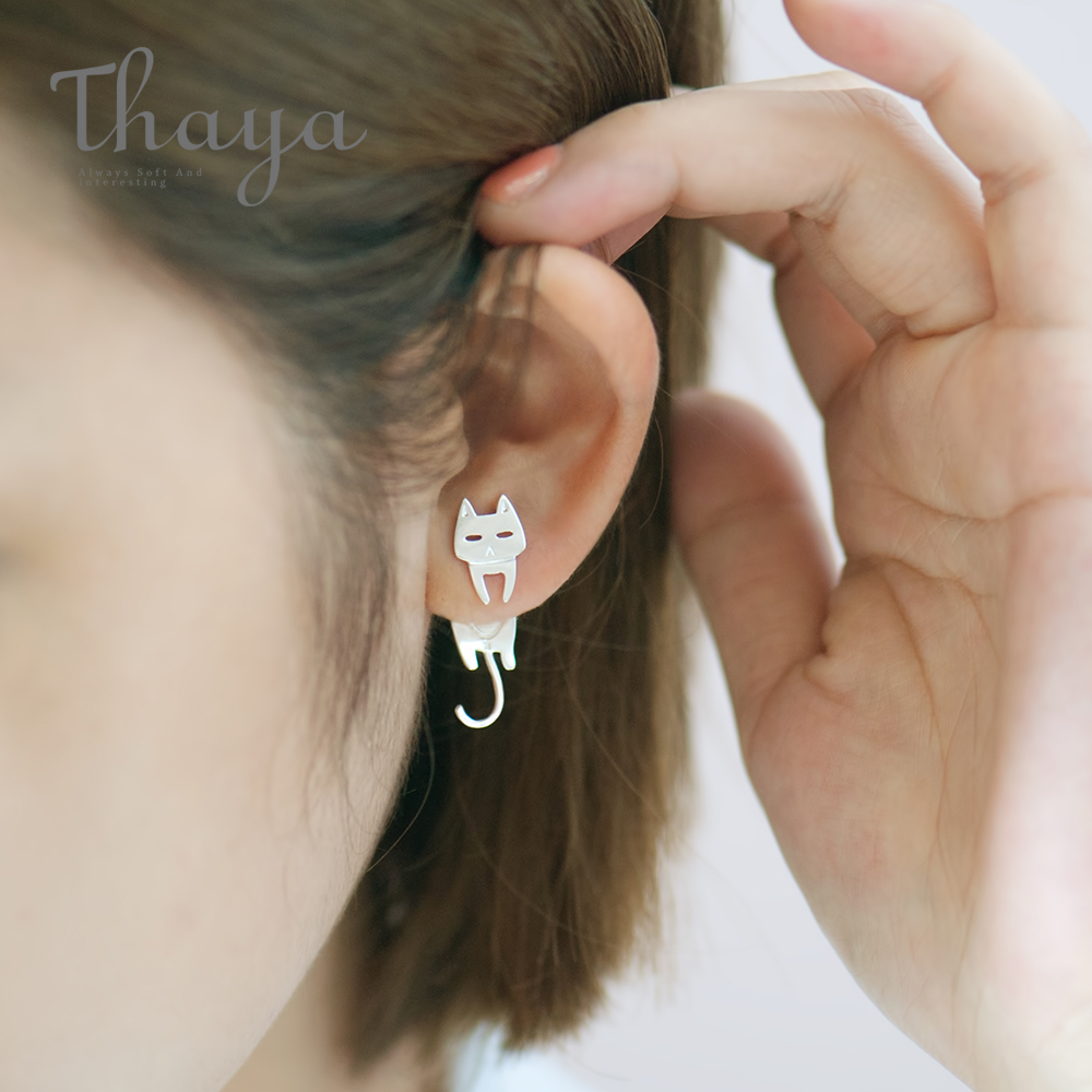 Thaya Cute Cat Fish Trendy Earrings Female S925 Sterling Silver Animal Ear Hook Stud For Women Lovely Party Gifts