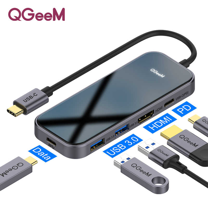 QGeeM USB C Hub for Macbook Pro متعدد USB 3.1 Hub Type C 3.0 Hub HDMI PD محول for iPad Pro OTG الفاصل شحن USB C Dock