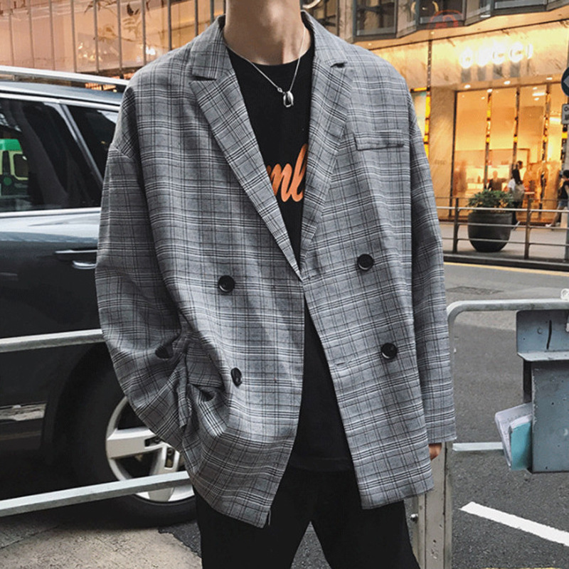 Double Breasted Plaid Casual Blazer Men Gray Loose Mens Suit Jacket Blazers Oversized Fashion England Long Sleeve Coats YT50202