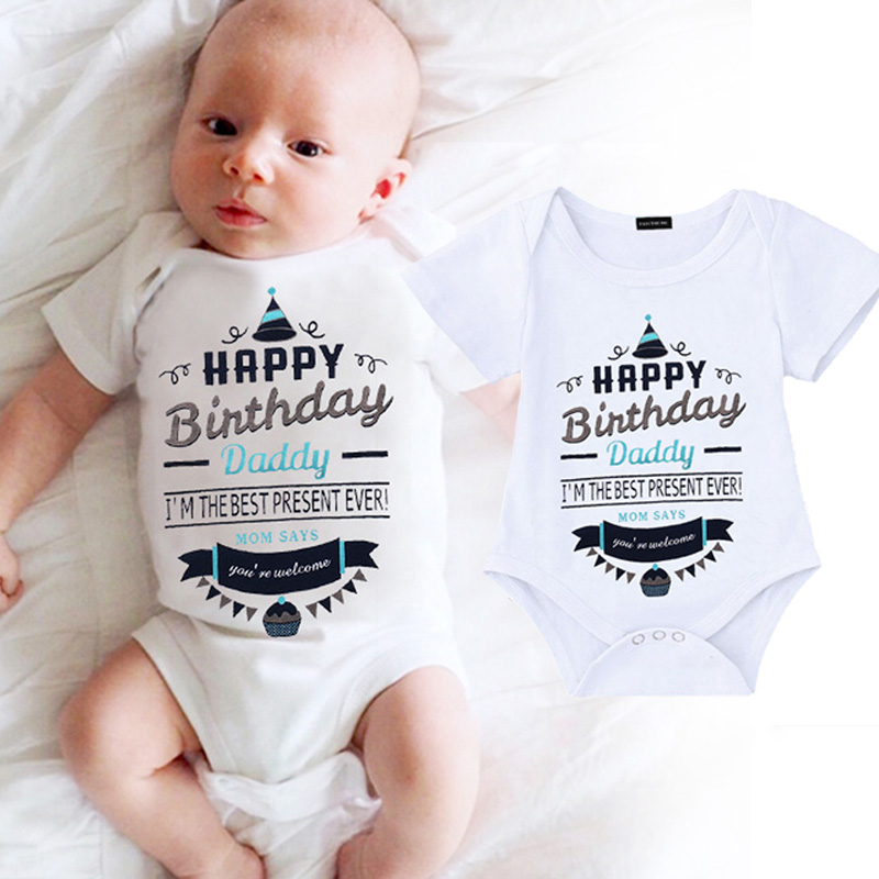 Baby Rompers Cotton Infant Body Short Sleeve Clothing Baby Jumpsuit Happy Birthday Daddy Printed Baby Boy Girl Clothes