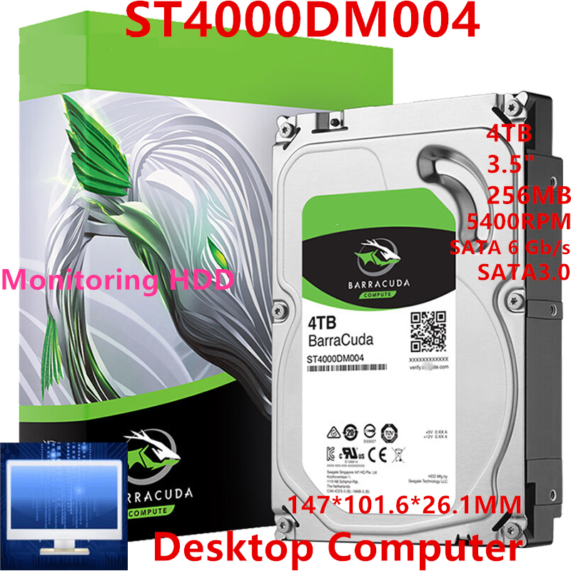 """New HDD For Seagate Brand BarraCuda 4TB 3.5"""" SATA 6 Gb/s 256MB 5400RPM For Internal Hard Disk For Monitoring HDD For ST4000DM004 1"""