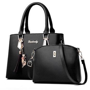 Fashion Womens Handbags 2 Pcs/set Composite Bags Handbag Women Shoulder Bag Female Tote Large Capacity Crossbody for