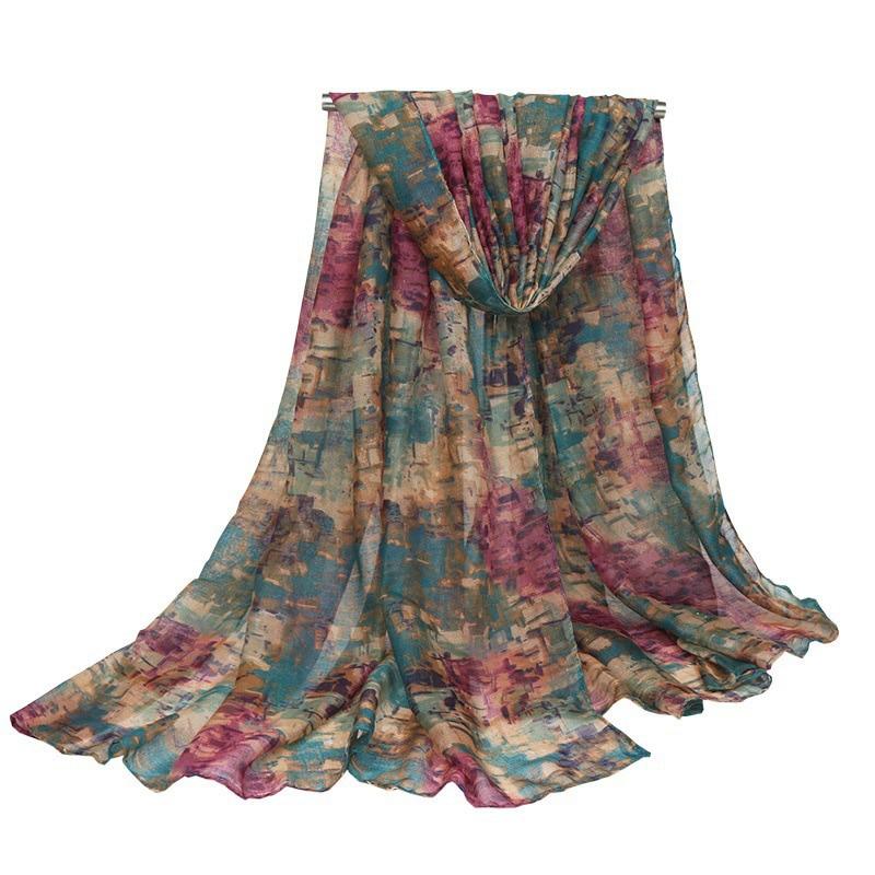 Cotton Long Scarf Mosaic Lady Summer Beach Shawl Wrap Stoles Pashmina Floral Fular Cachecol Bandana Women Hijab Scarf 180cm*90cm