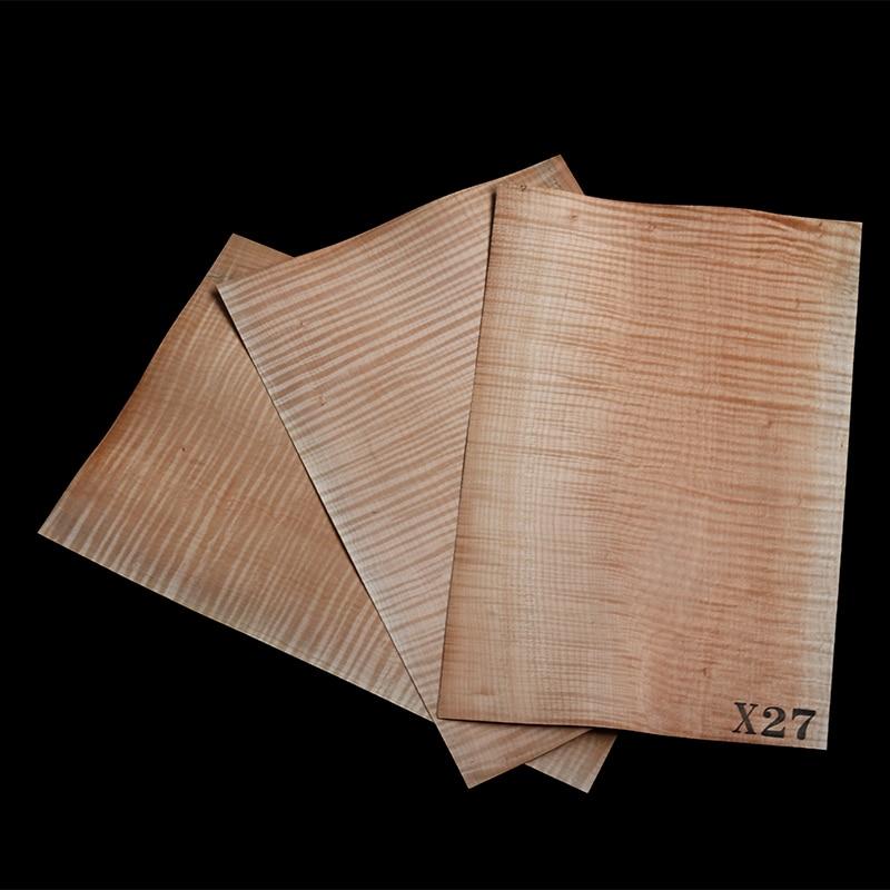 3pcs Burlywood Flame Maple Guitar Veneer Original Wood Makeup Board Guitars Making Materials Guitar Accessories530*350*0.5mm