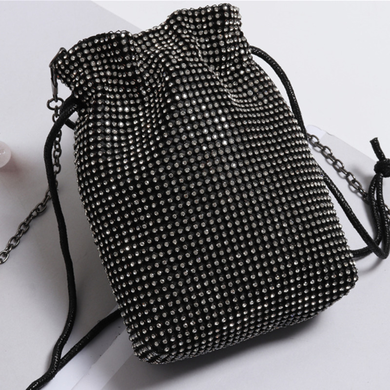 2020 Hot Sale Rhinestone Bags For Women Drawstring Alloy Chain Bag Solid Silver Bucket Bag Shiny Mini Cross-body Bags Tide ZL125