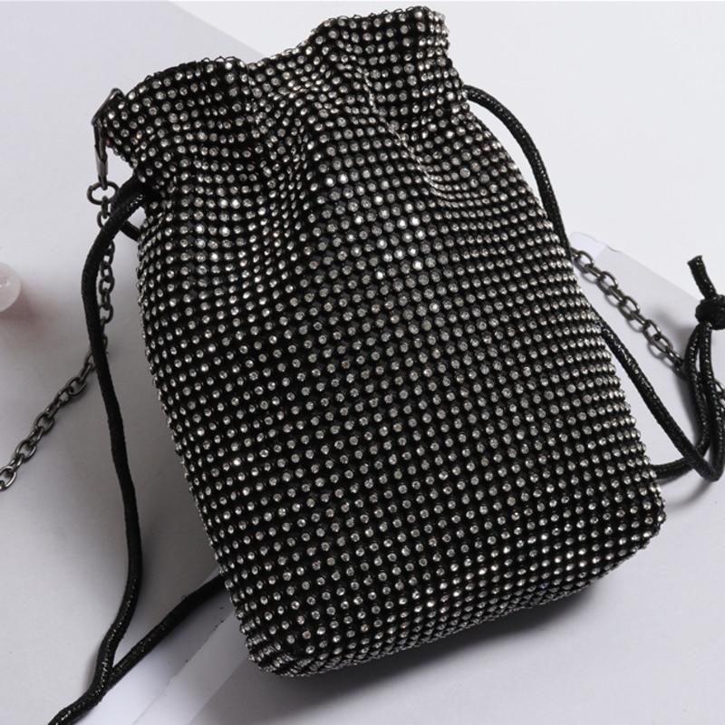 2020 Hot Sale Rhinestone Bags For Women Drawstring Alloy Chain Bag Solid Silver Bucket Bag Shiny Mini Cross-body Bags Tide ZL125